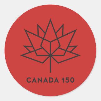 Pegatina Redonda Logotipo del funcionario de Canadá 150 - rojo y