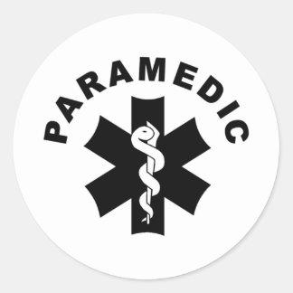 Pegatina Redonda Logotipo del rescate del paramédico el ccsme