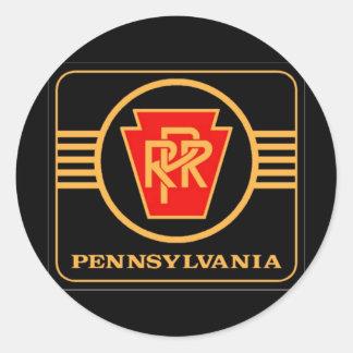 Pegatina Redonda Logotipo, negro y oro del ferrocarril de