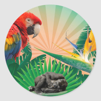Pegatina Redonda Loro de la selva del gorila