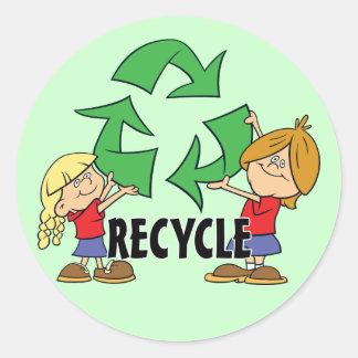 Pegatina Redonda Los niños reciclan