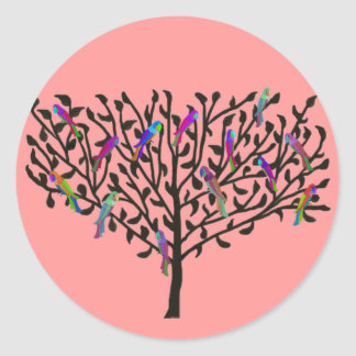 Pegatina Redonda Los pegatinas del árbol del loro