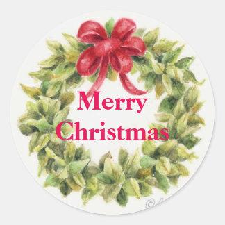 Pegatina Redonda Los pegatinas del navidad enrruellan alrededor