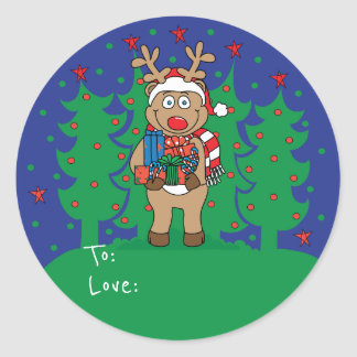 "Pegatina Redonda Los pegatinas redondos ""Rudolph"" del navidad"