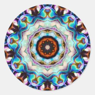 Pegatina Redonda Luces azules del fractal de Paua Shell