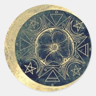 Pegatina Redonda Luna y talismán de las estrellas