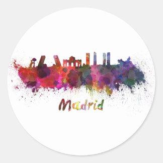 Pegatina Redonda Madrid skyline in watercolor