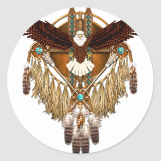 Pegatina Redonda Mandala de Eagle calvo - revisada
