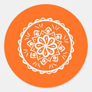 Pegatina Redonda Mandala de la amapola