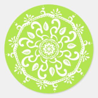 Pegatina Redonda Mandala de la cal