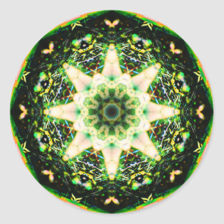 Pegatina Redonda Mandala de la estrella de Gardian de la naturaleza
