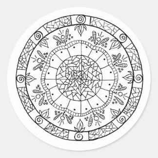 Pegatina Redonda Mandala de la flor