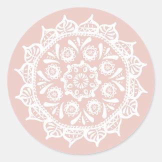 Pegatina Redonda Mandala de la malva