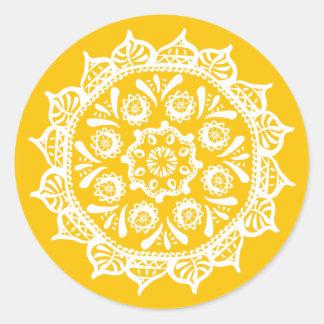 Pegatina Redonda Mandala de la miel