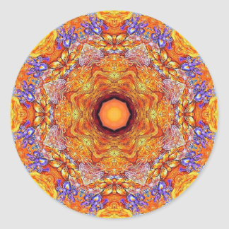 Pegatina Redonda Mandala de oro ningún del iris 1