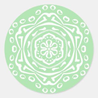 Pegatina Redonda Mandala de Seafoam
