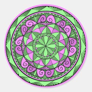 Pegatina Redonda Mandala del añil