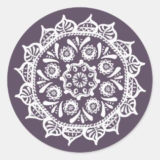 Pegatina Redonda Mandala del ciruelo