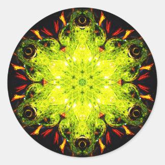 Pegatina Redonda Mandala especial del efecto de la rana