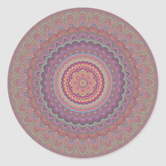 Pegatina Redonda Mandala geométrica del Hippie