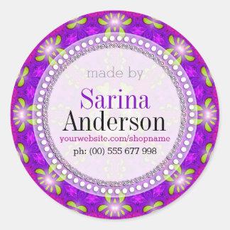 Pegatina Redonda Mandala ligera curativa púrpura hecha por las