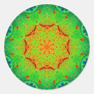 Pegatina Redonda Mandala muy colorida de la orden de la naturaleza
