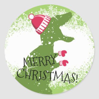 Pegatina Redonda Manoplas del gorra del navidad del dinosaurio del