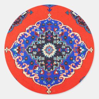 Pegatina Redonda Mantas turcas antiguas Kilims de las alfombras de