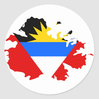 Pegatina Redonda Mapa de la bandera de Antigua