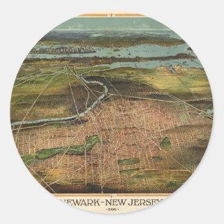 Pegatina Redonda Mapa de Newark 1916