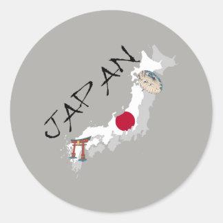 Pegatina Redonda Mapa y bandera de Japón