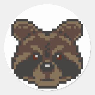 Pegatina Redonda Mapache del Pixel-Arte