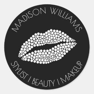 Pegatina Redonda Maquillaje de la belleza del estilista de los