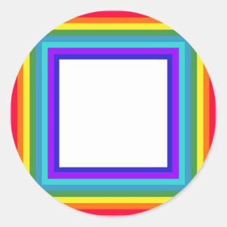 Pegatina Redonda Marco de la foto del arco iris - cuadrado