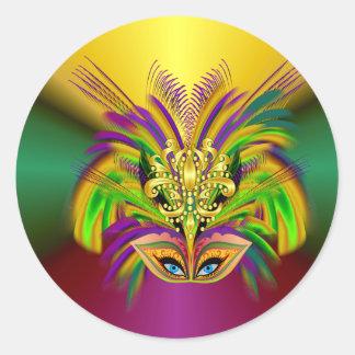 Pegatina Redonda Mardi-Gras-Máscara--Reina