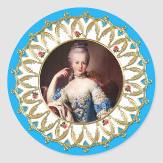 Pegatina Redonda Marie Antoinette Sticker Blue Rose Gold Flame