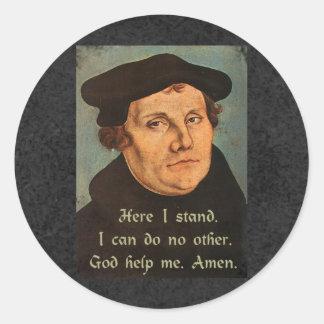 Pegatina Redonda Martin Luther aquí coloco la cita