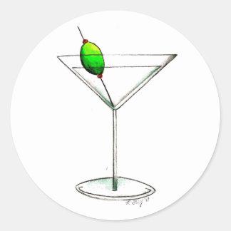 Pegatina Redonda Martini sucio con la bebida mezclada verde oliva