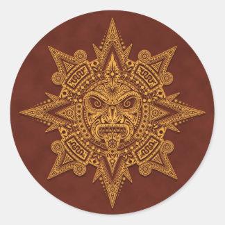 Pegatina Redonda Máscara azteca de Sun - rojo de oro