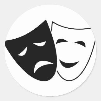 Pegatina Redonda Máscara de la comedia y de la tragedia