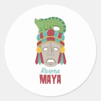 Pegatina Redonda Máscara del maya de Riviera