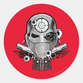Pegatina Redonda Máscara del pelotón el | Deadshot del suicidio y