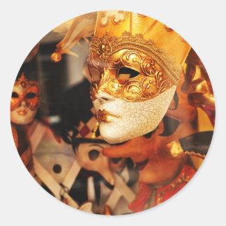 Pegatina Redonda Máscaras venecianas