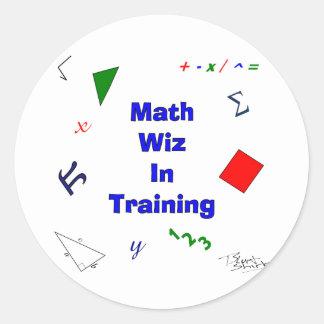 Pegatina Redonda Matemáticas Wiz en el entrenamiento