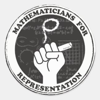 Pegatina Redonda Matemáticos para los pegatinas de la