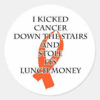 Pegatina Redonda Matón del cáncer (cinta anaranjada)