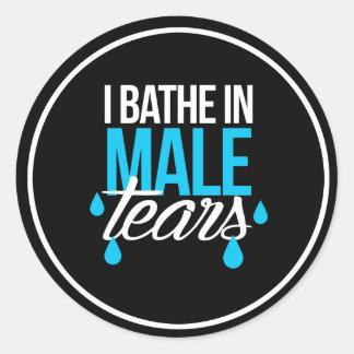 Pegatina Redonda Me baño en los rasgones masculinos --  blanco -