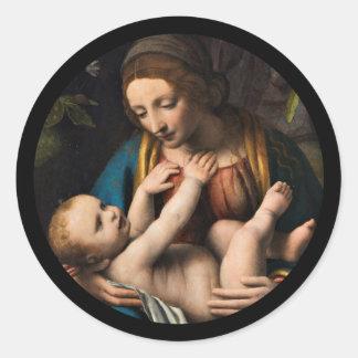 Pegatina Redonda MED Kristusbarnet de Madonna