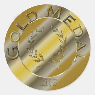 Pegatina Redonda Medalla de oro con la opción del año