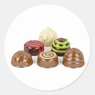 Pegatina Redonda Mezcla de caramelos de chocolate